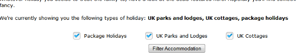 Choose your holiday type - parks & lodges, cottages and package holidays