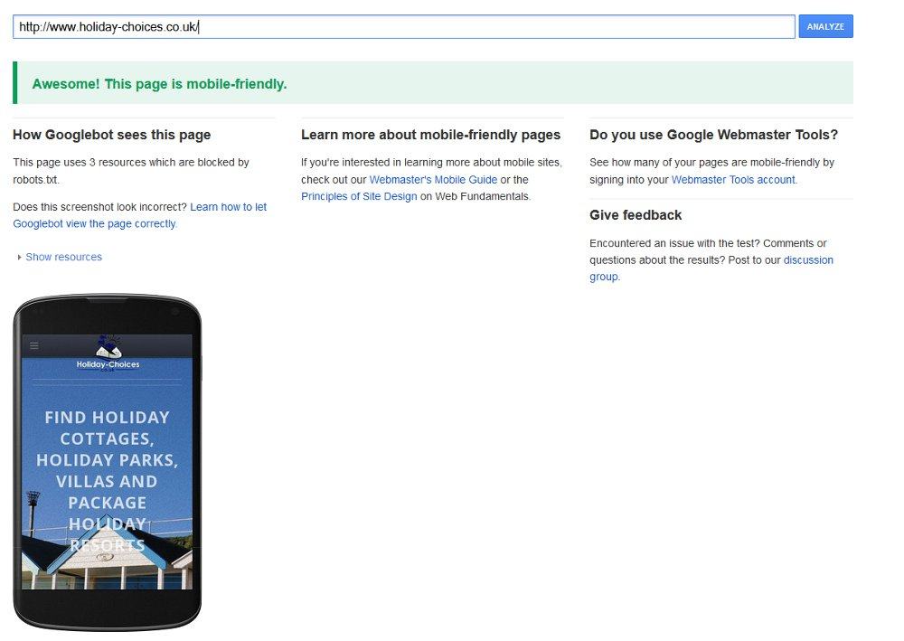 Holiday-Choices.co.uk - yes, we're mobile friendly