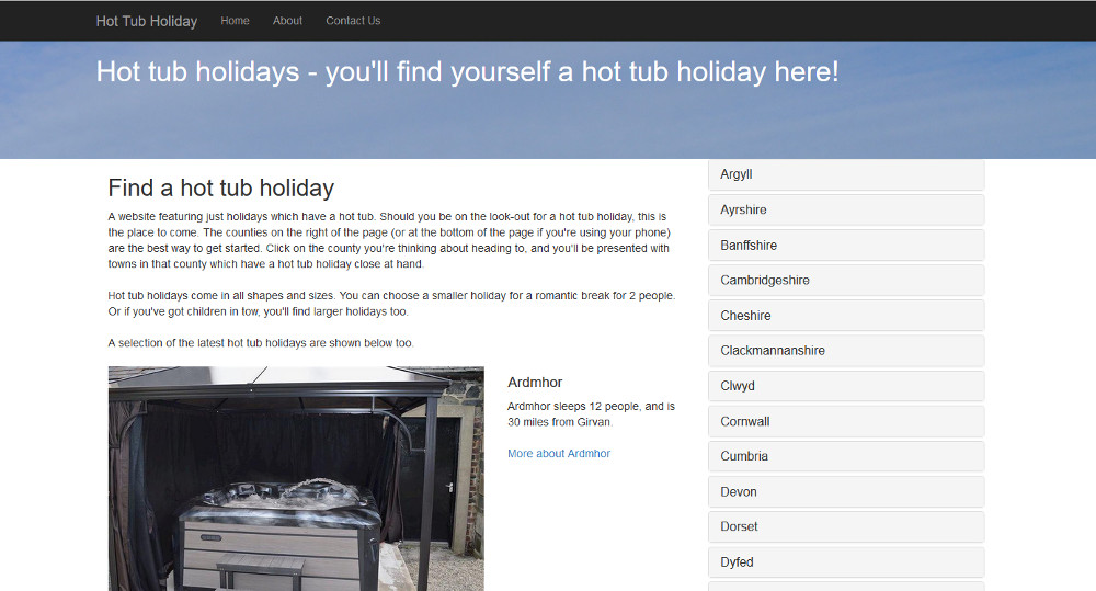 Hot-Tub-Holiday.co.uk homepage
