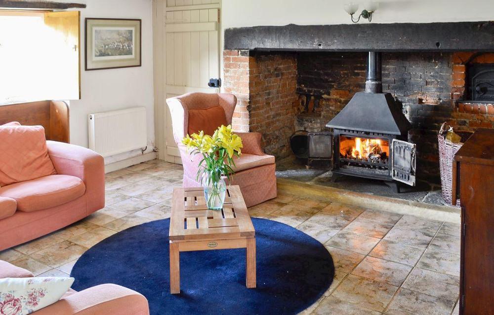 Living room at North End Farm House near Bridport in Dorset