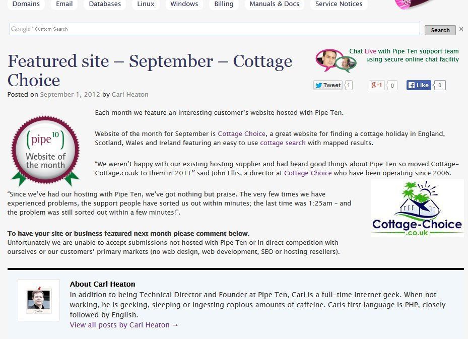 Way back in 2012, one of our websites - cottage-choice.co.uk - was website of the month!