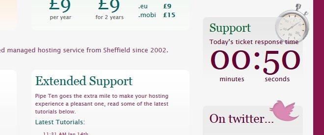 A snap-shot of the PipeTen website showing the wait time you can expect to have your support ticket looked at...
