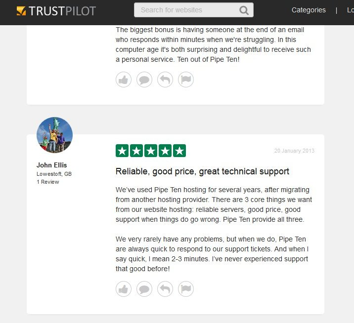 Independent reviews of PipeTen from Trust Pilot
