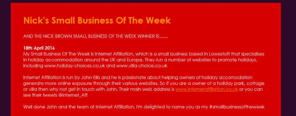 Nick Brown's small business of the week award
