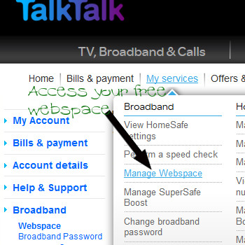 TalkTalk - free webspace and web hosting