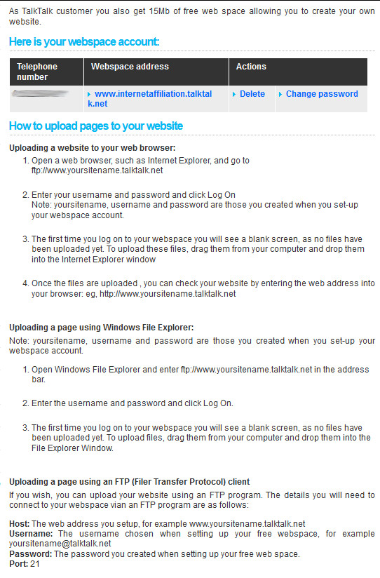 Instructions for transfering files to your TalkTalk account