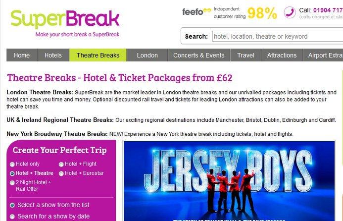 Book a theatre break from SuperBreak