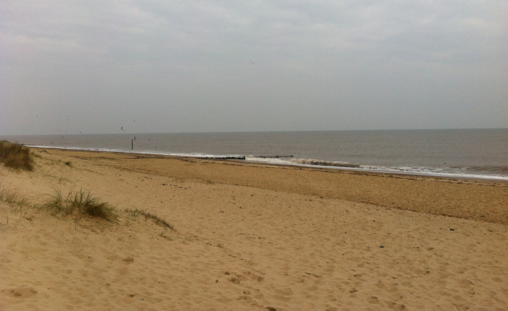 The beach at Caister, a 2 minute walk from Coastguard Cottage