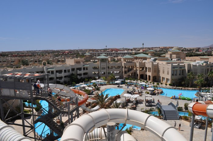 Views from top of water slide at Coral Sea Water World in Sharm
