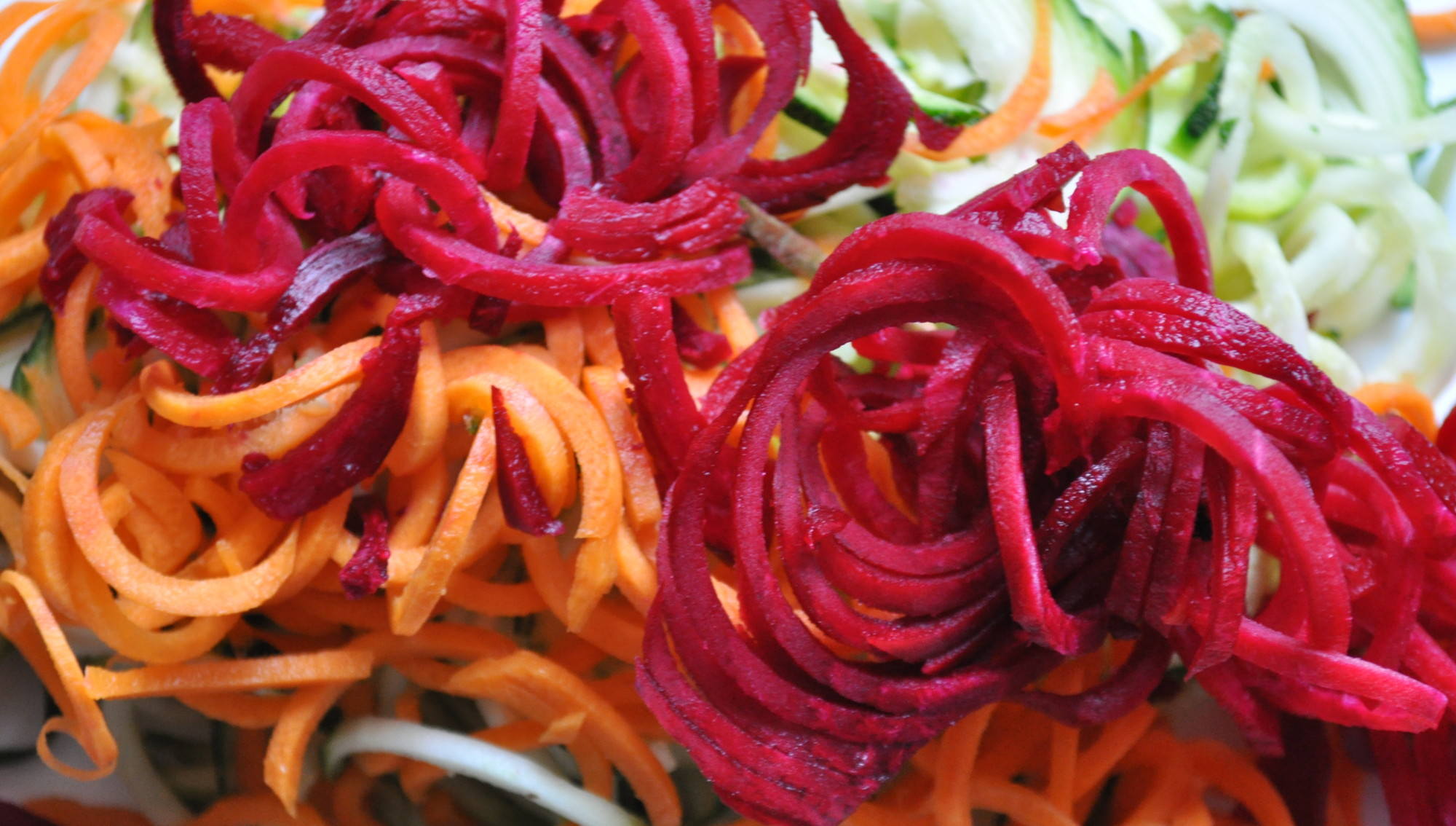 A selection of spiralized vegetables